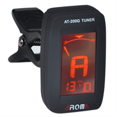 AROMA AT - 200G Portable Clip-on Electric Tuner 3 Color Backlit Screen for Zither Player
