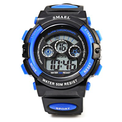SMAEL 0508 50M Water Resistant Sports Digital Teens WatchSports Watches<br>SMAEL 0508 50M Water Resistant Sports Digital Teens Watch<br><br>Brand: SMAEL<br>People: Children table<br>Watch style: Casual<br>Available color: Black,Blue,Green,Red,Silver<br>Movement type: Digital watch<br>Shape of the dial: Round<br>Display type: Digital<br>Case material: PC<br>Band material: Rubber<br>Clasp type: Pin buckle<br>Special features: Alarm Clock,Date,Day,Light,Stopwatch<br>Water resistance : 50 meters<br>Dial size: 4.50 x 1.50 cm / 1.77 x 0.59 inches<br>Band size: 24.00 x 1.8 cm / 9.45 x 0.71 inches<br>Product weight: 0.046 kg<br>Package weight: 0.076 kg<br>Product size (L x W x H): 24.00 x 4.50 x 1.50 cm / 9.45 x 1.77 x 0.59 inches<br>Package size (L x W x H): 25.00 x 5.50 x 2.50 cm / 9.84 x 2.17 x 0.98 inches<br>Package Contents: 1 x Children Watch