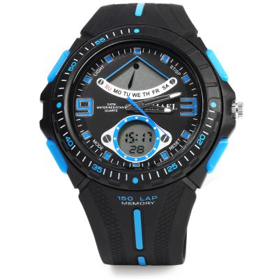 SMAEL 1315 Sports Digital Men Watch Calendar 3ATM Water ResistantSports Watches<br>SMAEL 1315 Sports Digital Men Watch Calendar 3ATM Water Resistant<br><br>Brand: SMAEL<br>People: Male table<br>Watch style: Casual<br>Available color: Blue,Deep Blue,Orange,Red,White<br>Movement type: Quartz + digital watch<br>Shape of the dial: Round<br>Display type: Analog-Digital<br>Case material: PC<br>Band material: Rubber<br>Clasp type: Pin buckle<br>Special features: Date,Day,Light,Stopwatch<br>Water resistance : 30 meters<br>Dial size: 5.00 x 1.50 cm / 1.97 x 0.59 inches<br>Band size: 24.50 x 2.2 cm / 9.65 x 0.87 inches<br>Product weight: 0.058 kg<br>Package weight: 0.088 kg<br>Product size (L x W x H): 24.50 x 5.00 x 1.50 cm / 9.65 x 1.97 x 0.59 inches<br>Package size (L x W x H): 25.50 x 6.00 x 2.50 cm / 10.04 x 2.36 x 0.98 inches<br>Package Contents: 1 x Men Watch