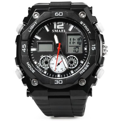 SMAEL 1363 Sports Digital Men Watch Calendar Alarm ChronographSports Watches<br>SMAEL 1363 Sports Digital Men Watch Calendar Alarm Chronograph<br><br>Brand: SMAEL<br>People: Male table<br>Watch style: Casual<br>Available color: Blue,Green,Red,White,Yellow<br>Movement type: Quartz + digital watch<br>Shape of the dial: Round<br>Display type: Analog-Digital<br>Case material: PC<br>Band material: Rubber<br>Clasp type: Pin buckle<br>Special features: Alarm Clock,Date,Day,Light,Stopwatch<br>Dial size: 5.00 x 1.50 cm / 1.97 x 0.59 inches<br>Band size: 25.50 x 2.2 cm / 10.04 x 0.87 inches<br>Product weight: 0.065 kg<br>Package weight: 0.095 kg<br>Product size (L x W x H): 25.50 x 5.00 x 1.50 cm / 10.04 x 1.97 x 0.59 inches<br>Package size (L x W x H): 23.50 x 6.00 x 2.50 cm / 9.25 x 2.36 x 0.98 inches<br>Package Contents: 1 x Men Watch