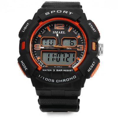 SMAEL 1378 Sports Digital Men Watch Chronograph CalendarSports Watches<br>SMAEL 1378 Sports Digital Men Watch Chronograph Calendar<br><br>Brand: SMAEL<br>People: Male table<br>Watch style: Casual<br>Available color: Army green,Black,Orange<br>Movement type: Quartz + digital watch<br>Shape of the dial: Round<br>Display type: Analog-Digital<br>Case material: PC<br>Band material: Rubber<br>Clasp type: Pin buckle<br>Special features: Date,Day,Light,Stopwatch<br>Water resistance : 30 meters<br>Dial size: 5.50 x 1.50 cm cm / 2.17 x 0.59 inches<br>Band size: 22.50 x 2.5 cm / 8.86 x 0.98 inches<br>Product weight: 0.066 kg<br>Package weight: 0.096 kg<br>Product size (L x W x H): 22.50 x 5.50 x 1.50 cm / 8.86 x 2.17 x 0.59 inches<br>Package size (L x W x H): 23.50 x 6.50 x 2.50 cm / 9.25 x 2.56 x 0.98 inches<br>Package Contents: 1 x Men Watch