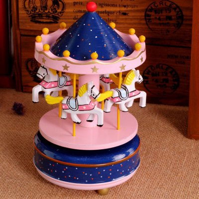 Wooden Merry-go-round Carousel Wind-up Music Box Wedding Gift Toy House Decoration