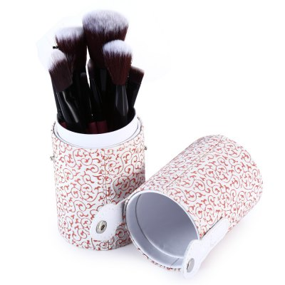 12PCS Synthetic Hair Makeup Brushes with Leather Storage Holder
