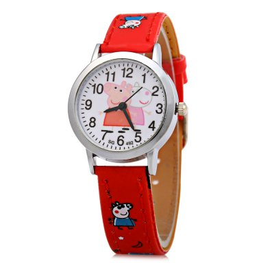 492 Pig Pattern Children Quartz Watch with Arabic Number Scale