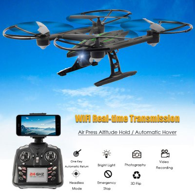 JXD 510W 2.4GHz WIFI FPV RC DroneRC Quadcopters<br>JXD 510W 2.4GHz WIFI FPV RC Drone<br><br>Age: Above 14 years old<br>Battery: 3.7V  600mAh<br>Brand: JXD<br>Built-in Gyro: 6 Axis Gyro<br>Camera Pixels: 0.3MP<br>Channel: 4-Channels<br>Charging Time.: 60mins<br>Control Distance: 100-300m<br>Detailed Control Distance: About 100m<br>Flying Time: 8-10 mins<br>Functions: 360 degrees spin, Camera, Forward/backward, Headless Mode, WiFi Connection, Up/down, FPV, Sideward flight, One Key Automatic Return, Height Holding, Turn left/right<br>Kit Types: RTF<br>Level: Intermediate Level<br>Material: Plastic, Electronic Components<br>Model Power: 1 x Lithium battery(included)<br>Night Flight: Yes<br>Package Contents: 1 x Quadcopter ( Battery Included ), 1 x Transmitter, 1 x USB Cable, 4 x Spare Propeller, 2 x Screwdriver, 4 x Protective Frame, 1 x Cellphone Holder, 1 x Camera<br>Package size (L x W x H): 38.00 x 21.50 x 13.00 cm / 14.96 x 8.46 x 5.12 inches<br>Package weight: 0.8500 kg<br>Product size (L x W x H): 31.60 x 31.60 x 10.60 cm / 12.44 x 12.44 x 4.17 inches<br>Product weight: 0.1500 kg<br>Remote Control: 2.4GHz Wireless Remote Control<br>Transmitter Power: 4 x 1.5V AA battery(not included)<br>Type: Quadcopter