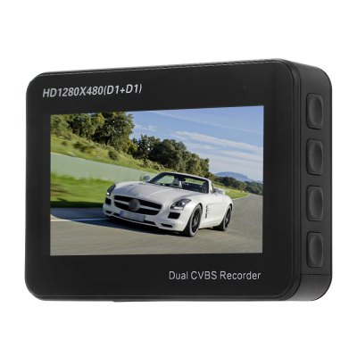 ORDRO Q603 Split Dual CVBS Input Car DVR RecorderCar DVR<br>ORDRO Q603 Split Dual CVBS Input Car DVR Recorder<br><br>Brand: Ordro<br>Model: Q603<br>Type: Dual Lens Dashboard Camera<br>Chipset Name: Novatek<br>Chipset: Novatek 96655<br>Max External Card Supported: TF 32G (not included)<br>Class Rating Requirements: Class 10 or Above<br>Screen size: 2.7inch<br>Screen type: LCD<br>Battery Type: Built-in<br>Charge way: Car charger<br>Wide Angle: 150 degree wide angle<br>Decode Format: MJPG<br>Video Resolution: 1280 x 480<br>Video Frame Rate  : 30fps<br>Audio System : Built-in microphone/speacker (AAC)<br>Loop-cycle Recording : Yes<br>Loop-cycle Recording Time: 10min,1min,3min,5min,OFF<br>Interface Type: AV-in,Mini USB,TF Card Slot<br>Language: Deutsch,English,French,Italian,Japanese,Korean,Portuguese,Russian,Simplified Chinese,Spanish,Traditional Chinese<br>Frequency: 50Hz,60Hz<br>Operating Temp.: -10 - 65 centigrade degree<br>Operating RH  : 10 - 80 percent<br>Product weight: 0.049 kg<br>Package weight: 0.731 kg<br>Product size (L x W x H): 7.20 x 5.40 x 1.90 cm / 2.83 x 2.13 x 0.75 inches<br>Package size (L x W x H): 19.00 x 14.50 x 11.60 cm / 7.48 x 5.71 x 4.57 inches<br>Package Contents: 1 x Monitor, 2 x Camera Lens, 1 x 3.7V 500mAh Battery, 1 x Suction Cup Bracket, 1 x Front Camera Cable (3m Approx.), 1 x Rear Camera Cable (10m Approx.), 1 x Car Charger (3m Approx.), 1 x USB Cable (7
