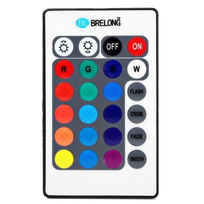 BRELONG RGB Light Strip Remote Controller 24 KeysLED Accessories<br>BRELONG RGB Light Strip Remote Controller 24 Keys<br><br>Accessory type: Controller<br>Features: Remote Control<br>Input Voltage (V)  : DC 12V<br>Material: Plastic<br>Product weight: 0.0300 kg<br>Package weight: 0.0500 kg<br>Product size (L x W x H): 8.50 x 5.20 x 0.70 cm / 3.35 x 2.05 x 0.28 inches<br>Package size (L x W x H): 13.00 x 9.00 x 1.70 cm / 5.12 x 3.54 x 0.67 inches<br>Package Contents: 1 x BRELONG LED Controller