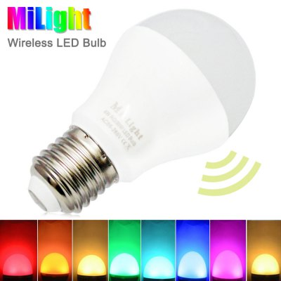 Milight E27 6W 2.4Ghz Wireless RGBW Dimming LED Bulb AC 86 - 265VSmart Lighting<br>Milight E27 6W 2.4Ghz Wireless RGBW Dimming LED Bulb AC 86 - 265V<br><br>Available Light Color: Cool White,RGB,Warm White<br>Brand: MiLight<br>Features: Dimming, Energy Saving, Long Life Expectancy, Remote Control<br>Function: Studio and Exhibition Lighting, Home Lighting, Commercial Lighting<br>Holder: E27<br>Luminous Flux: 450LM<br>Output Power: 6W<br>Package Contents: 1 x Milight LED Bulb<br>Package size (L x W x H): 6.80 x 6.80 x 11.70 cm / 2.68 x 2.68 x 4.61 inches<br>Package weight: 0.1190 kg<br>Product size (L x W x H): 5.70 x 5.70 x 10.00 cm / 2.24 x 2.24 x 3.94 inches<br>Product weight: 0.0760 kg<br>Sheathing Material: PC<br>Voltage (V): AC 86 - 265V