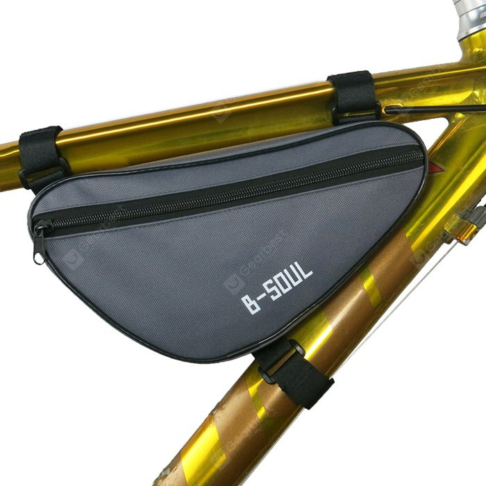 B-SOUL 1.5L Bicycle Front Tube Triangle Bag GRAY