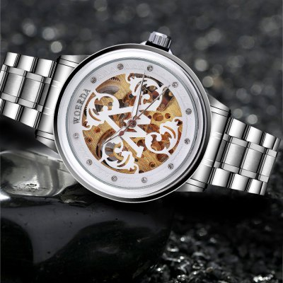 WOERDA White Men Automatic Mechanical WatchMechanical Watches<br>WOERDA White Men Automatic Mechanical Watch<br><br>Brand: WOERDA<br>Watches categories: Male table<br>Watch style: Business<br>Available color: White<br>Movement type: Automatic mechanical watch<br>Shape of the dial: Round<br>Display type: Analog<br>Case material: Stainless Steel<br>Band material: Stainless Steel<br>Clasp type: Folding clasp with safety<br>Dial size: 4.3 x 4.3 x 1.2 cm / 1.69 x 1.69 x 0.47 inches<br>Band size: 24 x 2.5 cm / 9.45 x 0.98 inches<br>Product weight: 0.106 kg<br>Package weight: 0.140 kg<br>Product size (L x W x H): 24.00 x 4.30 x 1.20 cm / 9.45 x 1.69 x 0.47 inches<br>Package size (L x W x H): 25.00 x 5.30 x 2.20 cm / 9.84 x 2.09 x 0.87 inches<br>Package Contents: 1 x WOERDA Business Style White Men Automatic Mechanical Watch