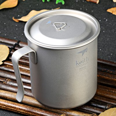 Keith Ti3267 600mL Titanium Cup Fixed HandleCamp Kitchen<br>Keith Ti3267 600mL Titanium Cup Fixed Handle<br><br>Brand: Keith<br>Model Number: Ti3267<br>Type: Tableware<br>Material: Titanium<br>Color: Titanium Grey<br>Best Use: Backpacking,Camping,Climbing,Hiking<br>Features: Durable,Easy to use,Ultralight<br>Capacity: 500-600ml<br>Product weight: 0.095 kg<br>Package weight: 0.225 kg<br>Product Dimension: 9.10 x 9.10 x 10.00 cm / 3.58 x 3.58 x 3.94 inches<br>Package Dimension: 10.50 x 10.50 x 12.50 cm / 4.13 x 4.13 x 4.92 inches<br>Package Contents: 1 x Keith Ti3267 Titanium Cup with Cover