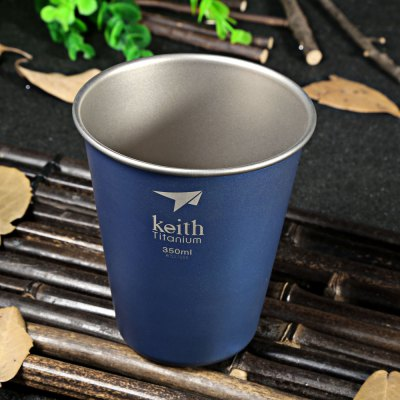 Keith Ti9011 350mL Blue Titanium Cup for Camping