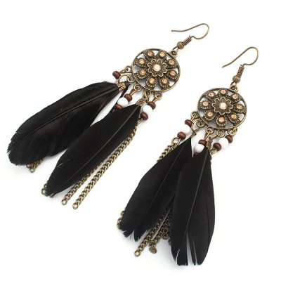 Retro Ethnic Style Female Earrings with Feather Pendant