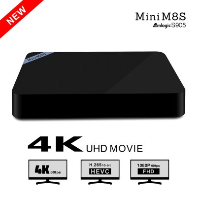 Mini M8S TV BoxTV Box &amp; Mini PC<br>Mini M8S TV Box<br><br>Model: Mini M8S<br>Type: TV Box<br>GPU: Mali-450<br>System: Android 5.1<br>CPU: Amlogic S905<br>Core: Quad Core<br>RAM: 2G<br>ROM: 8G<br>Max. Extended Capacity: 32G<br>Color: Black<br>Video format: AVI,DAT,ISO,MKV,MOV,MP4,MPEG,MPG,RM,WMV<br>Audio format: AAC,FLAC,MP3,OGG,RM,WMA<br>Photo Format: JPG<br>WIFI: IEEE 802.11 b/g/n<br>Bluetooth: Bluetooth4.0<br>Power Supply: Charge Adapter<br>Interface: DC Power Port,HDMI,RJ45,SPDIF,TF card,USB2.0<br>Certificate: CE,FCC,RoHs<br>Power Type: External Power Adapter Mode<br>Product weight: 0.153 kg<br>Package weight: 0.465 kg<br>Product size (L x W x H): 11.00 x 11.00 x 1.70 cm / 4.33 x 4.33 x 0.67 inches<br>Package size (L x W x H): 16.00 x 11.30 x 7.70 cm / 6.3 x 4.45 x 3.03 inches<br>Package Contents: 1 x Mini M8STV Box, 1 x Remote Control, 1 x HDMI Cable, 1 x Power Adapter, 1 x English Manual