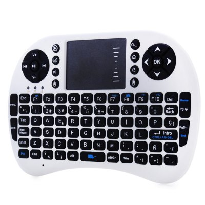 UKB-500-RF 2.4G Wireless Spanish KeyboardAir Mouse<br>UKB-500-RF 2.4G Wireless Spanish Keyboard<br><br>Certificate: CE,FCC,RoHs<br>Color: Black,White<br>Connection: Wireless<br>Features: Gaming, Mini<br>Interface: Wireless<br>Model: UKB-500-RF<br>Operating voltage: 3V<br>Operation Current: Less Than 50mA<br>Package Contents: 1 x  Wireless Keyboard with Touch Pad, 1 x USB Receiver, 1 x English Manual<br>Package size (L x W x H): 17.90 x 10.40 x 2.30 cm / 7.05 x 4.09 x 0.91 inches<br>Package weight: 0.153 kg<br>Product size (L x W x H): 14.60 x 9.70 x 1.50 cm / 5.75 x 3.82 x 0.59 inches<br>Product weight: 0.092 kg<br>Sleep Current: Less Than 1mA<br>Suitable for: XBOX360, PS3, IPTV, HTPC, Google TV Box, Andriod TV Box<br>System support: Android, Linux, Mac OS, Windows<br>Type: Keyboard