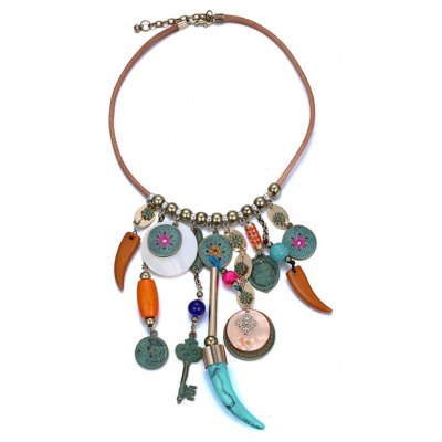 Vintage Shell Necklace with Metal Tassel Pendant for Women