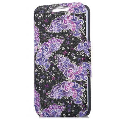 PU Leather Flip Case for iPhone SE / 5S / 5 Butterfly Pattern