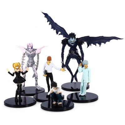 Plastic Static Figure Anime Character Model with Base Home Office Decor - 6Pcs / Set
