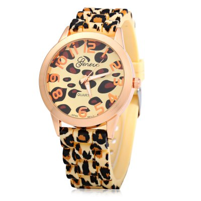 Geneva Watch with 12 Numbers Indicate Round Dial Rubber Band for Women - Golden