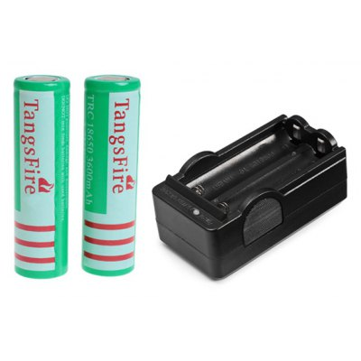 TangsFire 18650 3.7V 3600mAh Flat Li-ion Rechargeable Battery with Charger - 2-Pack