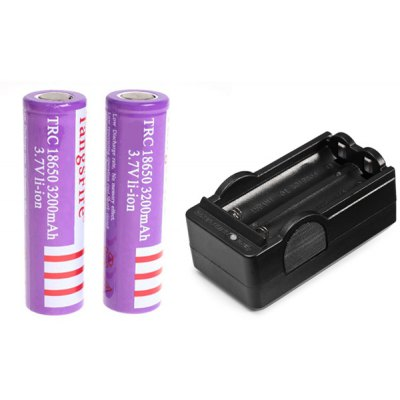 TangsFire 18650 3.7V 3200mAh Flat Li-ion Rechargeable Battery with Charger - 2-Pack, Purple, without Protection Board