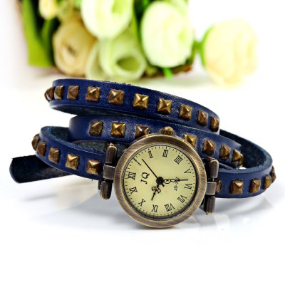 Geneva Quartz Watch 12 Roman Number Indicate Leather Watch Band for Women (Blue)