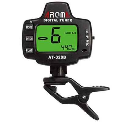 AROMA AT - 320B Portable Clip-on Electric Tuner Backlit Screen for Chromatic Guitar