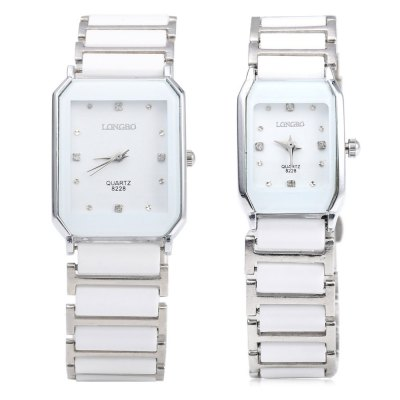 LONGBO 8228 Water Resistant Couple WatchesLONGBO 8228 Water Resistant Couple Watches<br><br>Brand: Longbo<br>Watches categories: Couple tables<br>Watch style: Casual<br>Available color: White<br>Shape of the dial: Rectangle<br>Movement type: Quartz watch<br>Display type: Analog<br>Case material: Stainless Steel<br>Band material: Ceramic<br>Clasp type: Folding clasp with safety<br>Water resistance : Life water resistant<br>Package weight: 0.136 kg<br>Package size (L x W x H): 22.00 x 3.50 x 3.00 cm / 8.66 x 1.38 x 1.18 inches<br>The male dial dimension (L x W x H): 3.2 x 2.6 x 0.8 cm / 1.26 x 1.02 x 0.31 inches<br>The male watch band dimension (L x W): 20.4 x 2.1 cm / 8.03 x 0.83 inches<br>The male watch weight: 0.060 kg<br>The male watch size (L x W x H): 20.4 x 2.6 x 0.8 cm / 8.03 x 1.02 x 0.31 inches<br>The female dial dimension (L x W x H): 2.8 x 1.8 x 0.7 cm / 1.10 x 0.71 x 0.28 inches<br>The female watch band dimension (L x W): 18 x 1.6 cm / 7.09 x 0.63 inches<br>The female watch weight: 0.038 kg<br>The female size (L x W x H): 18 x 1.8 x 0.7 cm / 7.09 x 0.71 x 0.28 inches<br>Package Contents: 1 x LONGBO 8228 Couple Watches