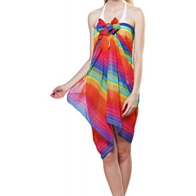 Rainbow Colored Stripe Pattern Chiffon Scarf for Women