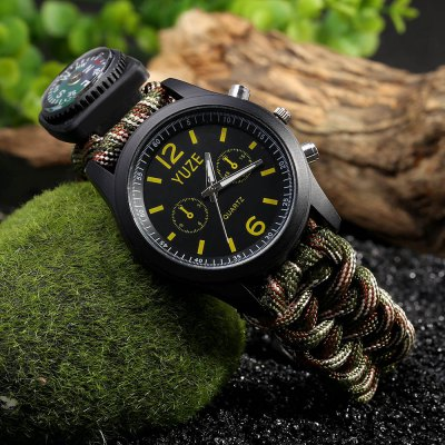 YUZE 6 in 1 Outdoor Survival Watch Compass Bracelet