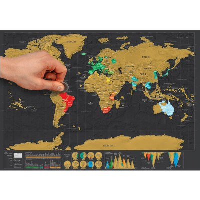 Large Size Personalized Scratch-off World Map Poster Travel Toy - 16.6 x 11.8 inch