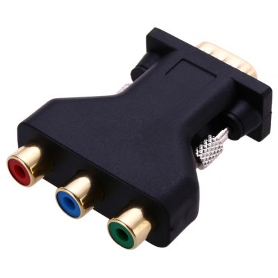 Gold-Plated VGA to 3RCA M-F Convertor