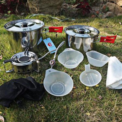 lelvjie LJ - 9022 Stainless Steel Eight-piece Camping Set