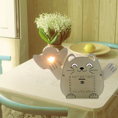 GeekCook Lucky Cat Wooden Table Lamp
