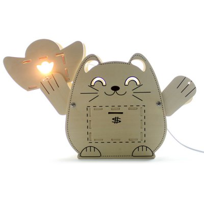GeekCook Money Cat Wooden Table Lamp Assembling Handcraft Decoration Gifts