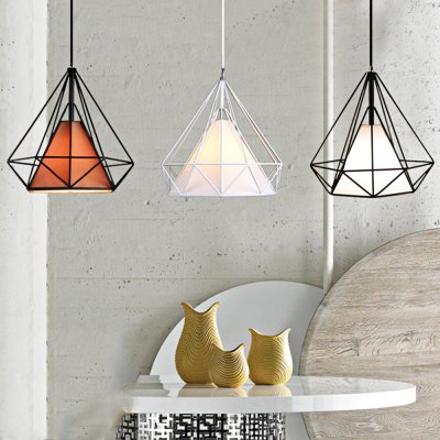 Diamond Shaped Wire Cage Pendant Light Cafe Restaurant Hotel Dining Hall