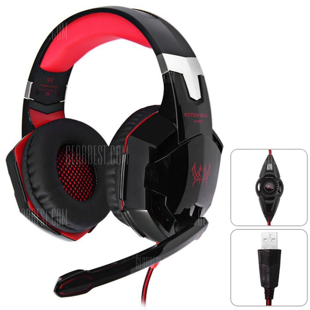 KOTION EACH G2200 USB 7.1 Vibration Gaming Headphone Surround Sound Computer Headset Earphone Headband - Black+Blue 365556