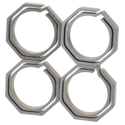 4PCS Titanium Alloy Octagonal Dual Layer Key Chain