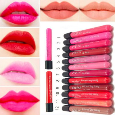 12pcs Elegant  Moisturizing Waterproof Long Lasting Liquid Lipstick Lipgloss