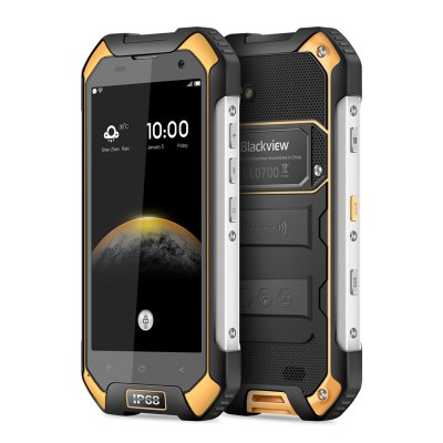 Blackview BV6000 4G SmartphoneCell phones<br>Blackview BV6000 4G Smartphone<br><br>2G: GSM 850/900/1800MHz<br>3G: WCDMA 900/1900/2100MHz<br>4G: FDD-LTE 800/1800/2100/2600MHz<br>Additional Features: FM, E-book, Calendar, Calculator, Browser, Bluetooth, Alarm, 4G, 3G, GPS, MP3, Waterproof, Camera, Wi-Fi, Video Call, Sound Recorder, People, OTG, NFC, MP4<br>Auto Focus: Yes<br>Back camera: 13.0MP, with flash light and AF<br>Battery Capacity (mAh): 4200mAh Built-in Battery<br>Battery Type: Lithium-ion Polymer Battery, Non-removable<br>Bluetooth Version: V4.1<br>Brand: Blackview<br>Camera type: Dual cameras (one front one back)<br>Cell Phone: 1<br>Cores: 2.0GHz, Octa Core<br>CPU: MTK6755<br>Dustproof: Yes<br>E-book format: TXT, PDF<br>English Manual : 1<br>External Memory: TF card up to 32GB (not included)<br>Flashlight: Yes<br>Front camera: 5.0MP<br>Games: Android APK<br>Google Play Store: Yes<br>GPU: Mali T860MP2<br>I/O Interface: TF/Micro SD Card Slot, 3.5mm Audio Out Port<br>IP rating: IP68<br>Language: English, French, Spanish, Russian, German, Italian, Portuguese, Japanese<br>Live wallpaper support: Yes<br>MS Office format: Excel, Word, PPT<br>Music format: MP3, AAC, WAV<br>Network type: GSM+WCDMA+FDD-LTE<br>OS: Android 7.0<br>OTG : Yes<br>Package size: 18.00 x 12.00 x 6.00 cm / 7.09 x 4.72 x 2.36 inches<br>Package weight: 0.607 kg<br>Picture format: PNG, GIF, JPEG, BMP<br>Power Adapter: 1<br>Product size: 15.23 x 8.10 x 1.66 cm / 6 x 3.19 x 0.65 inches<br>Product weight: 0.170 kg<br>RAM: 3GB RAM<br>ROM: 32GB<br>Screen resolution: 1280 x 720 (HD 720)<br>Screen size: 4.7 inch<br>Screen type: Corning Gorilla Glass 3<br>Sensor: E-Compass,Gravity Sensor<br>Service Provider: Unlocked<br>SIM Card Slot: Dual SIM, Dual Standby<br>SIM Card Type: Dual Micro SIM Card<br>Sound Recorder: Yes<br>Tool for Opening Case: 1<br>Touch Focus: Yes<br>Type: 4G Smartphone<br>USB Cable: 1<br>Video format: AVI, 3GP, H.263, 1080P, H.264, MP4<br>Video recording: Yes<br>Waterproof: Yes<br>WIFI: 802.11b/g/n wireless internet<br>Wireless Connectivity: NFC, 3G, GSM, GPS, 4G