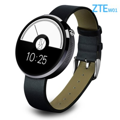 ZTE W01 Smart WatchSmart Watches<br>ZTE W01 Smart Watch<br><br>Alert type: Ring<br>Available Color: Black,Gold,Silver<br>Band material: Leather<br>Band size: 21 x 1.8 cm  / 8.27 x 0.71 inches<br>Battery  Capacity: 320mAh<br>Bluetooth calling: Dialing<br>Bluetooth Version: Bluetooth 4.0<br>Brand: ZTE<br>Built-in chip type: MTK2502<br>Case material: Stainless Steel<br>Charging Time: About 3hours<br>Compatability: Android 4.3 / iOS 7.0 and Above System<br>Compatible OS: IOS, Android<br>Dial size: 4.1 x 4.1 x 1.5 cm / 1.61 x 1.61 x 0.98 inches<br>IP rating: IP54<br>Language: English,French,German,Portuguese,Simplified Chinese,Spanish,Turkish<br>Operating mode: Touch Screen<br>Package Contents: 1 x Smart Watch, 1 x Charging Cable, 1 x Chinese English User Manual<br>Package size (L x W x H): 17.40 x 2.50 x 1.20 cm / 6.85 x 0.98 x 0.47 inches<br>Package weight: 0.3010 kg<br>People: Female table,Male table<br>Product size (L x W x H): 21.40 x 4.10 x 2.50 cm / 8.43 x 1.61 x 0.98 inches<br>Product weight: 0.0460 kg<br>RAM: 32MB<br>ROM: 128MB<br>Screen: IPS<br>Screen resolution: 240 x 204<br>Screen size: 1.22 inch<br>Shape of the dial: Round<br>Standby time: About 1 week<br>Waterproof: Yes