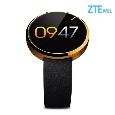 ZTE W01 Smart WatchSmart Watches<br>ZTE W01 Smart Watch<br><br>Alert type: Ring<br>Available Color: Black,Gold,Silver<br>Band material: Leather<br>Band size: 21 x 1.8 cm  / 8.27 x 0.71 inches<br>Battery  Capacity: 320mAh<br>Bluetooth calling: Dialing<br>Bluetooth Version: Bluetooth 4.0<br>Brand: ZTE<br>Built-in chip type: MTK2502<br>Case material: Stainless Steel<br>Charging Time: About 3hours<br>Compatability: Android 4.3 / iOS 7.0 and Above System<br>Compatible OS: IOS, Android<br>Dial size: 4.1 x 4.1 x 1.5 cm / 1.61 x 1.61 x 0.98 inches<br>IP rating: IP54<br>Language: English,French,German,Portuguese,Simplified Chinese,Spanish,Turkish<br>Operating mode: Touch Screen<br>Package Contents: 1 x Smart Watch, 1 x Charging Cable, 1 x Chinese English User Manual<br>Package size (L x W x H): 17.40 x 2.50 x 1.20 cm / 6.85 x 0.98 x 0.47 inches<br>Package weight: 0.324 kg<br>People: Female table,Male table<br>Product size (L x W x H): 21.40 x 4.10 x 2.50 cm / 8.43 x 1.61 x 0.98 inches<br>Product weight: 0.046 kg<br>RAM: 32MB<br>ROM: 128MB<br>Screen: IPS<br>Screen resolution: 240 x 204<br>Screen size: 1.22 inch<br>Shape of the dial: Round<br>Standby time: About 1 week<br>Waterproof: Yes