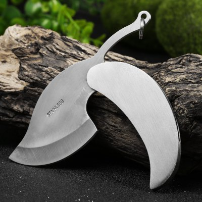 Portable Stainless Steel Leaf Folding Knife Key Chain
