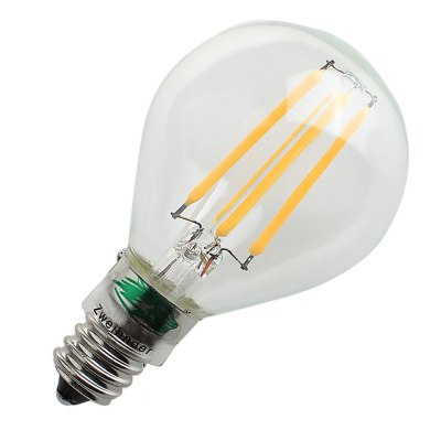 Zweihnder G45 4W 400Lm E14 COB LED Edison BulbEdison Bulbs<br>Zweihnder G45 4W 400Lm E14 COB LED Edison Bulb<br><br>Angle: 360 degree<br>Available Light Color: Warm White<br>Brand: Zweihnder<br>CCT/Wavelength: 3000-3500K<br>Emitter Types: COB<br>Features: Long Life Expectancy, Energy Saving<br>Function: Studio and Exhibition Lighting, Home Lighting, Commercial Lighting<br>Holder: E14,E27<br>Luminous Flux: 400LM<br>Output Power: 4W<br>Package Contents: 1 x Zweihnder LED Edison Bulb<br>Package size (L x W x H): 12.00 x 6.20 x 6.20 cm / 4.72 x 2.44 x 2.44 inches<br>Package weight: 0.041 kg<br>Product size (L x W x H): 8.50 x 5.20 x 5.20 cm / 3.35 x 2.05 x 2.05 inches<br>Product weight: 0.017 kg<br>Sheathing Material: Glass<br>Total Emitters: 4<br>Type: Edison Bulb<br>Voltage (V): AC 220-240