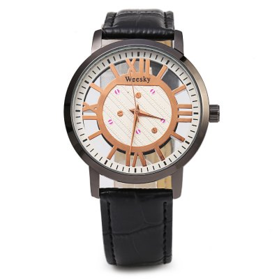 Weesky 1314 Transparent Dial Watch Men Quartz WristwatchMens Watches<br>Weesky 1314 Transparent Dial Watch Men Quartz Wristwatch<br><br>Brand: Weesky<br>Watches categories: Male table<br>Watch style: Casual<br>Available color: Black,Brown,White<br>Movement type: Quartz watch<br>Shape of the dial: Round<br>Display type: Analog<br>Case material: Stainless Steel<br>Band material: Leather<br>Clasp type: Pin buckle<br>Dial size: 4 x 4 x 1 cm / 1.57 x 1.57 x 0.39 inches<br>Band size: 25 x 2 cm / 9.84 x 0.79 inches<br>Wearable length: 18.5 - 22.5 cm / 7.28 - 8.86 inches<br>Product weight: 0.036 kg<br>Package weight: 0.070 kg<br>Product size (L x W x H): 25.00 x 4.00 x 1.00 cm / 9.84 x 1.57 x 0.39 inches<br>Package size (L x W x H): 26.00 x 5.00 x 2.00 cm / 10.24 x 1.97 x 0.79 inches<br>Package Contents: 1 x Weesky 1314 Men Quartz Watch