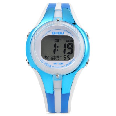 GOBU 1613 Children Watch with Stopwatch FunctionKids Watches<br>GOBU 1613 Children Watch with Stopwatch Function<br><br>Available Color: Black,Blue,Green,Purple,Red<br>Band material: Plastic<br>Band size: 22.5 x 1.6 cm / 8.86 x 0.63 inches<br>Case material: PC<br>Clasp type: Pin buckle<br>Dial size: 3.5 x 3.5 x 1.2 cm / 1.38 x 1.38 x 0.47 inches<br>Display type: LED lamp<br>Movement type: Digital watch<br>Package Contents: 1 x GOBU Children Watch, 1 x Chinese English User Manual<br>Package size (L x W x H): 23.50 x 4.50 x 2.20 cm / 9.25 x 1.77 x 0.87 inches<br>Package weight: 0.065 kg<br>Product size (L x W x H): 22.50 x 3.50 x 1.20 cm / 8.86 x 1.38 x 0.47 inches<br>Product weight: 0.027 kg<br>Shape of the dial: Round<br>Special features: Stopwatch, Luminous, Day, Date, Alarm Clock<br>Watch style: Lovely<br>Watches categories: Children table<br>Water resistance : 30 meters<br>Wearable length: 15 - 20.5cm / 5.90 - 8.07 inches