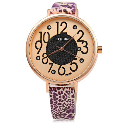 FeiFan S048 - 1 Casual Style Women Quartz Watch with Leopard StrapWomens Watches<br>FeiFan S048 - 1 Casual Style Women Quartz Watch with Leopard Strap<br><br>Brand: FEIFAN<br>Watches categories: Female table<br>Watch style: Fashion<br>Available color: Blue,Green,Purple<br>Movement type: Quartz watch<br>Shape of the dial: Round<br>Display type: Analog<br>Case material: Stainless Steel<br>Band material: Leather<br>Clasp type: Pin buckle<br>Dial size: 4 x 4 x 1 cm / 1.57 x 1.57 x 0.39 inches<br>Band size: 23 x 1.5 cm / 9.06 x 0.59 inches<br>Wearable length: 17.5 - 21.5 cm / 6.89 - 8.46 inches<br>Product weight: 0.033 kg<br>Package weight: 0.066 kg<br>Product size (L x W x H): 23.00 x 4.00 x 1.00 cm / 9.06 x 1.57 x 0.39 inches<br>Package size (L x W x H): 24.00 x 5.00 x 2.00 cm / 9.45 x 1.97 x 0.79 inches<br>Package Contents: 1 x FeiFan S048 - 1 Casual Style Women Quartz Watch