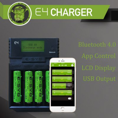 ESYB E4 Bluetooth App LCD Battery ChargerChargers<br>ESYB E4 Bluetooth App LCD Battery Charger<br><br>Bluetooth: Yes<br>Charge Control Methods: CC (Constant-current),CV (Constant-voltage)<br>Charging Cell Qty: 4<br>Charging Cell Type: NiCd, Ni-MH, Lithium Ion, LiFePO4<br>Compatible: 26500, 26650, A, AA, AAA, AAAA, C, D, SC, 22650, 18650, 16650, 10440, 14500, 14650, 16340, 17650, 17670, 18350, 18490, 18500<br>Input Voltage: AC 100~240V 50/60HZ<br>LCD Screen: Yes<br>Model: E4<br>Output Voltage: 4.2V + / - 1pct, 3.6V + / - 1pct, 1.48V + / - 1pct; USB output 5V 1A<br>Over Charging Protection: Yes<br>Over Voltage Protection: Yes<br>Package Contents: 1 x ESYB E4 Battery Charger, 1 x Adapter, 1 x English Manual<br>Package size (L x W x H): 20.00 x 15.00 x 5.00 cm / 7.87 x 5.91 x 1.97 inches<br>Package weight: 0.5150 kg<br>Product size (L x W x H): 15.90 x 11.20 x 3.70 cm / 6.26 x 4.41 x 1.46 inches<br>Product weight: 0.2350 kg<br>Protected Circuit: Yes<br>Reverse Polarity Protection: Yes<br>Short Circuit Protection: Yes<br>Type: Charger
