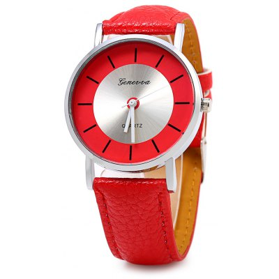 GENEVA 458 Casual Style Leather Band Lady Quartz Watch
