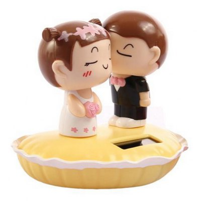 Solar Head-shaking Cartoon Couple Creative Decoration for Car / Desk